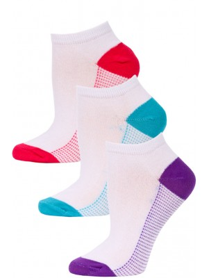 NYC Underground Women's No Show Socks - 3 Pairs - Purple/Blue/Pink -1