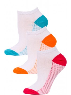 NYC Underground Women's No Show Socks - 3 Pairs - Pink/Orange/Blue -2