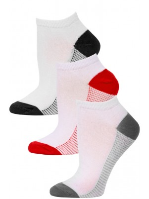 NYC Underground Women's No Show Socks - 3 Pairs - Grey/Red/Black-4