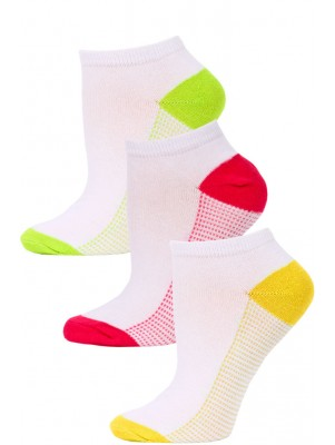 NYC Underground Women's No Show Socks - 3 Pairs - Yellow/Pink/Lime Green -5