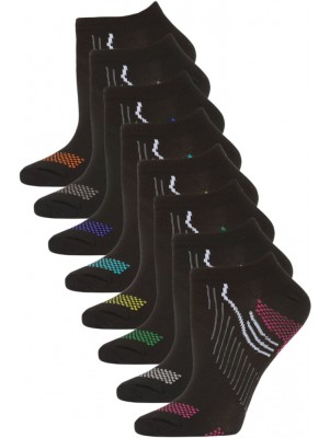 Gina Group Women's No Show Sport Socks - 8 Pairs - Black with Bright Trim