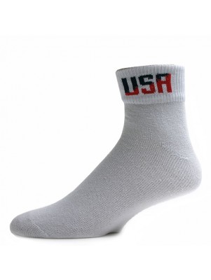Men's White USA Logo Quarter Socks - 3 Pairs