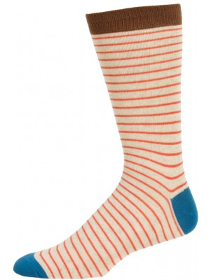 Fine Fit Men's Skinny Stripe Dress Socks - 1 Pair - Tan/Blue/Orange