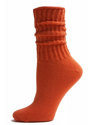 Orange Cotton Slouch Socks - 1 Pair