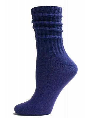 Dark Purple Cotton Slouch Socks - 1 Pair