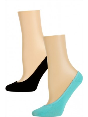 Steve Madden Solid Color Microfiber Footie Liner Socks - 2 Pairs - Light Blue and Black