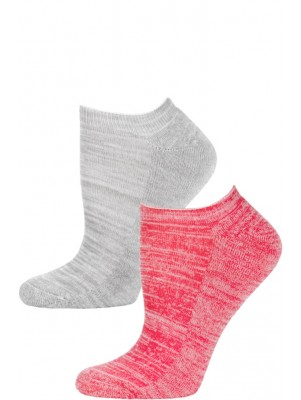 Steve Madden Marled Pastel No Show Socks - 2 Pairs - Light Grey and Hot Pink