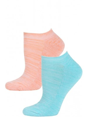 Steve Madden Marled Pastel No Show Socks - 2 Pairs - Pastel Blue and Orange
