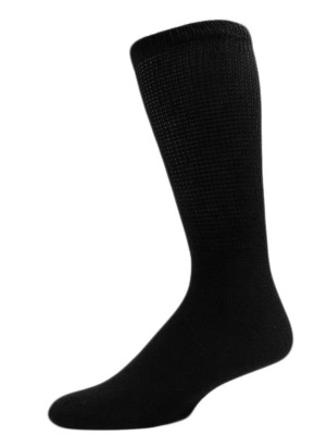 Sole Pleasers Men's King Size Black Diabetic Over the Calf Socks - 3 Pairs