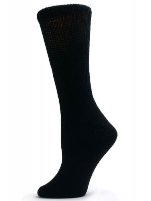Sole Pleasers Women's Black Diabetic Crew Socks - 3 Pairs