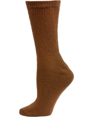 Sole Pleasers Women's Brown Diabetic Crew Socks - 3 Pairs