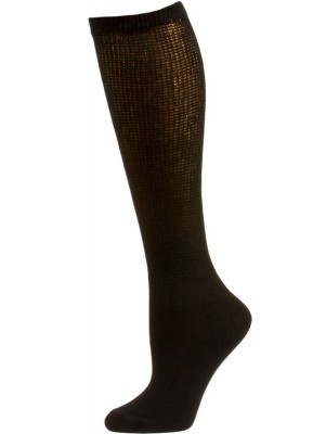 Sole Pleasers Women's Black Diabetic Over the Calf Socks - 3 Pairs