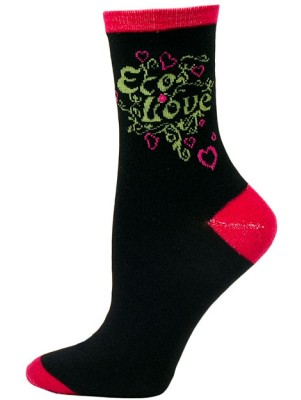 Go Green Women's Crew Socks - 1 Pair - Black - Eco Love