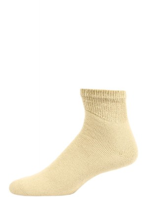 Sole Pleasers Men's Tan Diabetic Quarter Socks - 3 Pairs