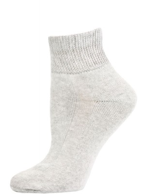 Sole Pleasers Women's Grey Diabetic Quarter Socks - 3 Pairs