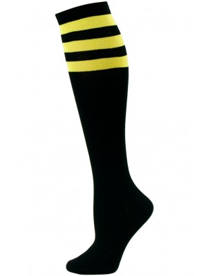Julietta Women's Sport Stripe Black Knee Socks - 1 Pair - Black and Yellow