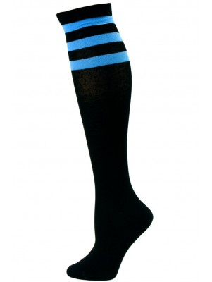Julietta Women's Sport Stripe Black Knee Socks - 1 Pair - Black and Dark Blue
