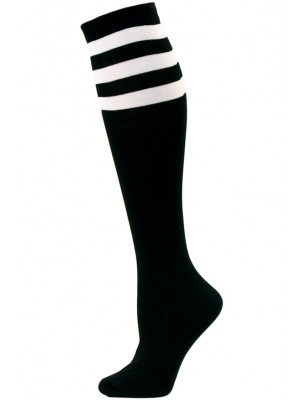 Julietta Women's Sport Stripe Black Knee Socks - 1 Pair - Black and White