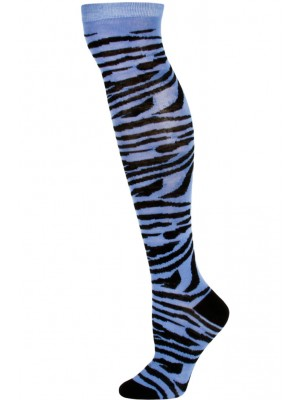Julietta Zebra Print Knee Socks - 1 Pair - Blue/Black