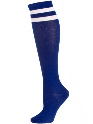 Julietta Bold Retro Stripe Knee Socks - 1 Pair - Blue