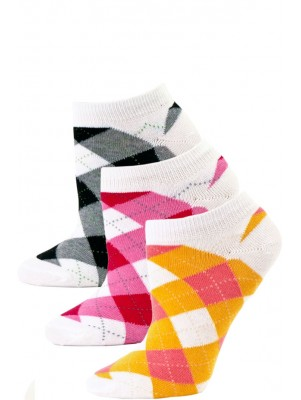 Fine Fit Women's Argyle Low Cut Socks - 3 Pairs - Orange/Pink/Black Argyle