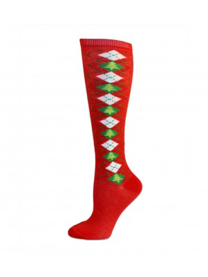 Merry Christmas Women's Knee Socks - 1 Pair - Red Argyle Christmas Trees