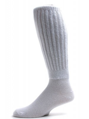 Extra Long, Extra Heavy White Slouch Socks - 1 Pair