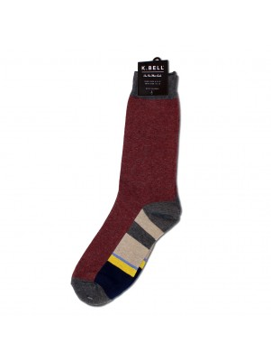 K. Bell Men's 50/50 Stripe Crew Socks - Maroon