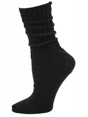 Black Cotton Slouch Socks - 1 Pair