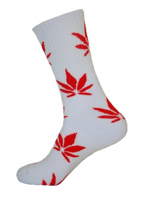 Unisex Crew Classic Weed Socks White with Red - 2 pairs