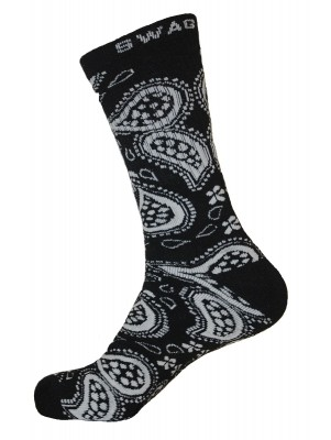 Unisex Crew Swag Leaf Socks Black with Grey - 2 pairs