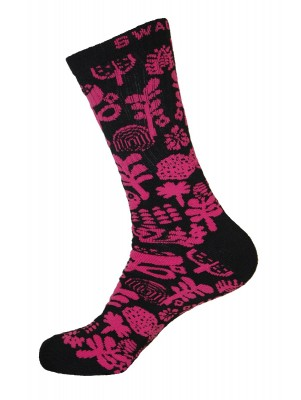Unisex Crew Swag Forest Socks Black with Hot Pink - 2 pairs