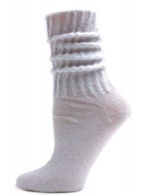 White Cotton Slouch Socks - 1 Pair