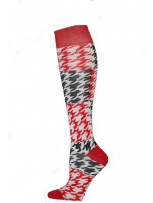 Yelete Hearts And Spots Knee Socks - 1 Pair - Red and Black